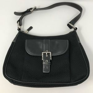 Talbots Black Leather Fabric Purse Handbag